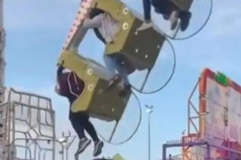 فریادهای بی وقفه یک زن هنگام سقوط از چرخ و فلک
